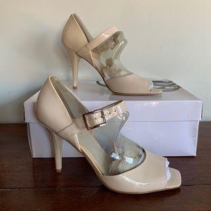 Nine West Lex Tan Patent Leather Square Toe Heels